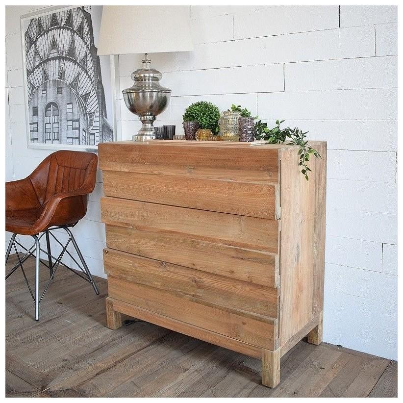 Cómoda de madera maciza de teca, estilo contemporáneo, industrial y rústico chic