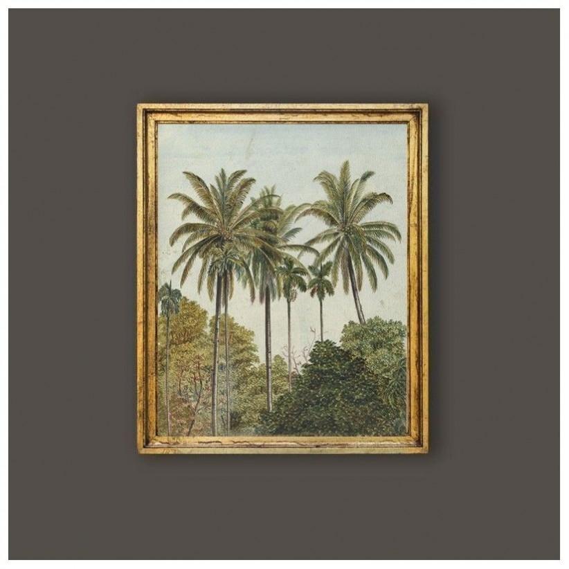 Cuadro oro paisaje palmeras jungla