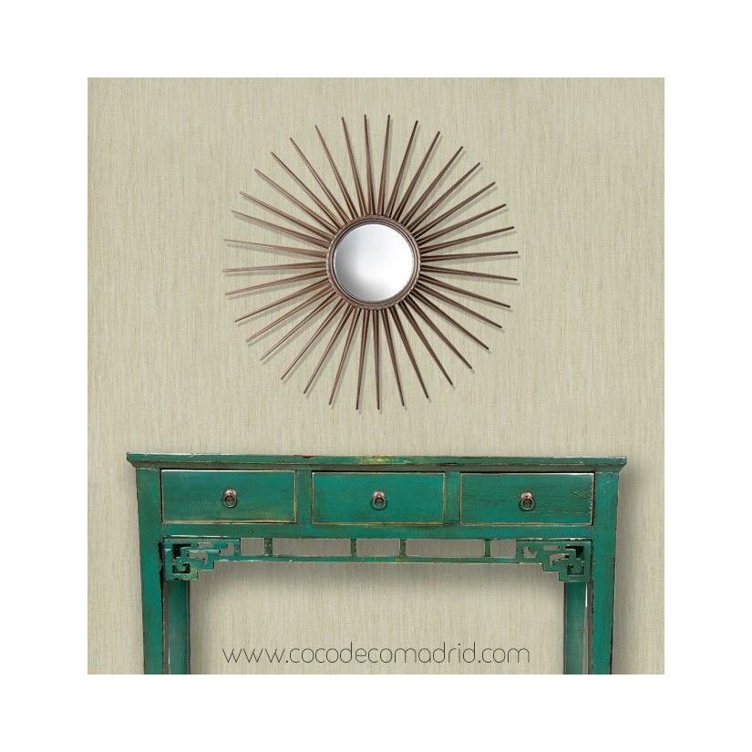 Comprar espejo convexo con forma de sol dorado online for Espejos decorativos con forma de sol
