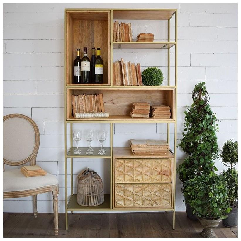 Estantería librería de madera maciza de mango y metal dorado