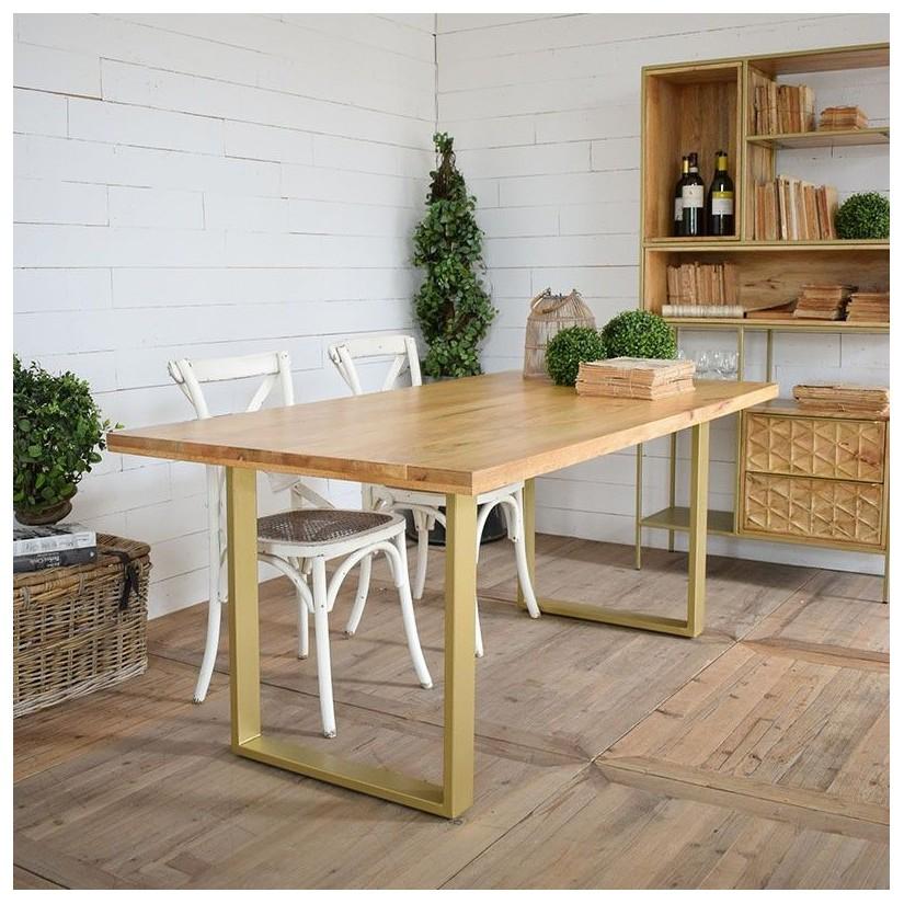 Mesa de comedor de madera maciza de mango y patas de metal dorado