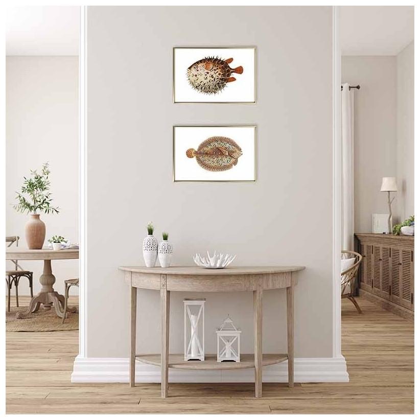 Cuadro oro ilustraciones peces